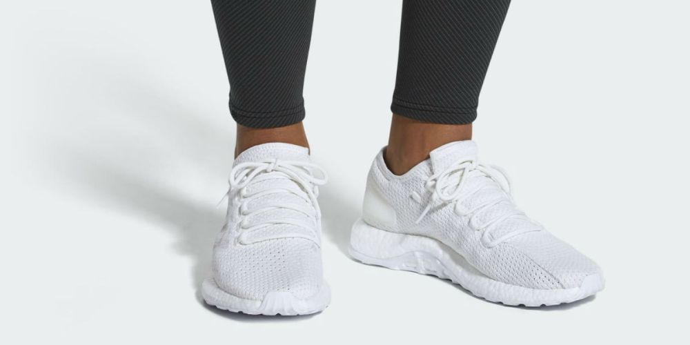 adidas pure boost all white on feet