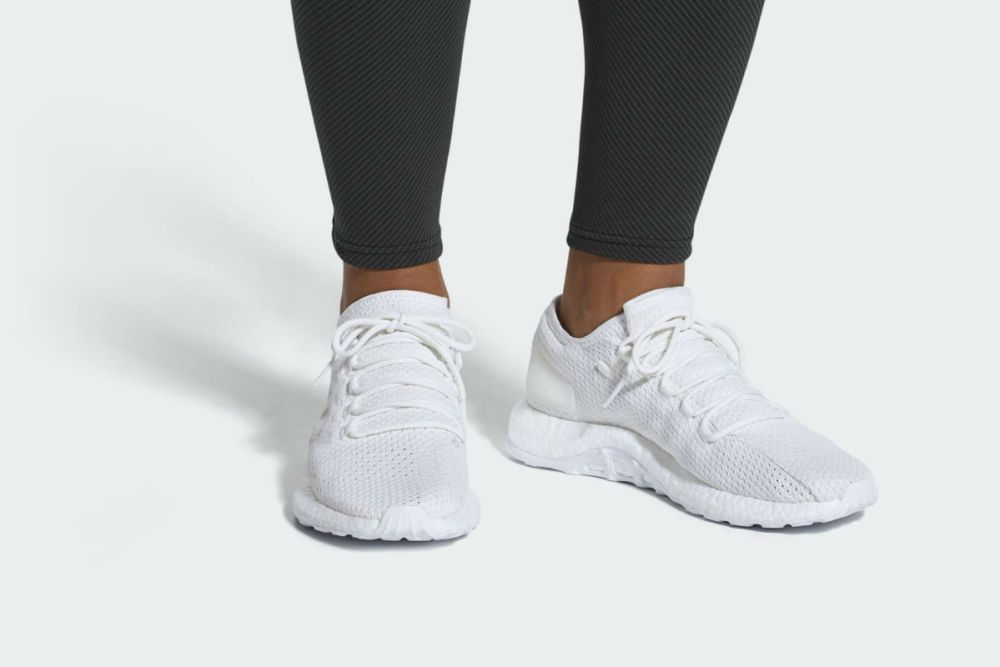 on sale 7c1bb 77cf5 adidas pure boost all white on feet