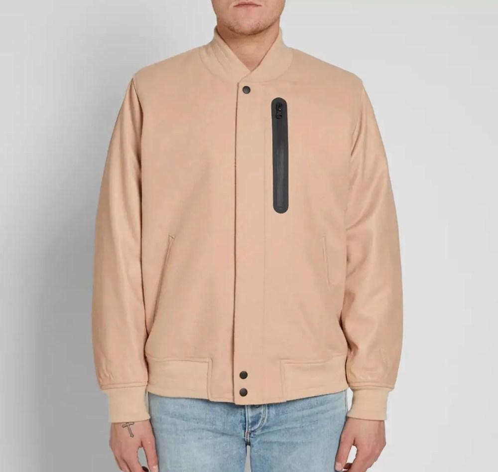 nike varsity jacket bio beige