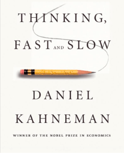 Book cover for thinking Fast and Slow, by Daniel Kaneman