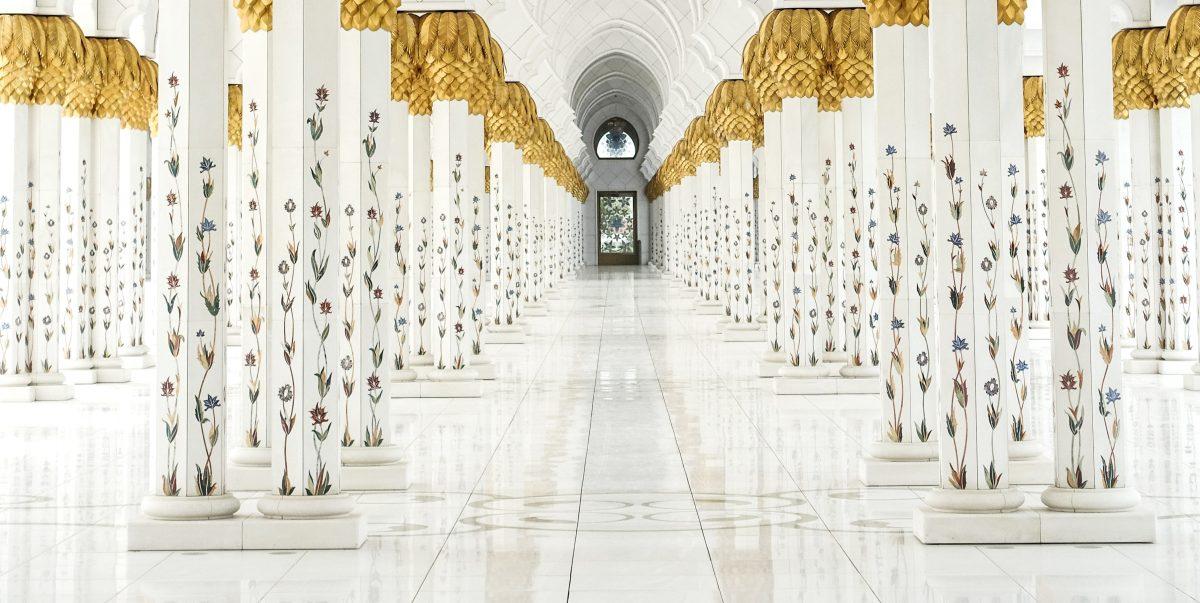 large open space, columns, gold leaf, surface design, abu dhabi, z.korcz