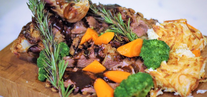 Festive Feasts: Slow Roasted Lamb with Root Vegetable Gratin