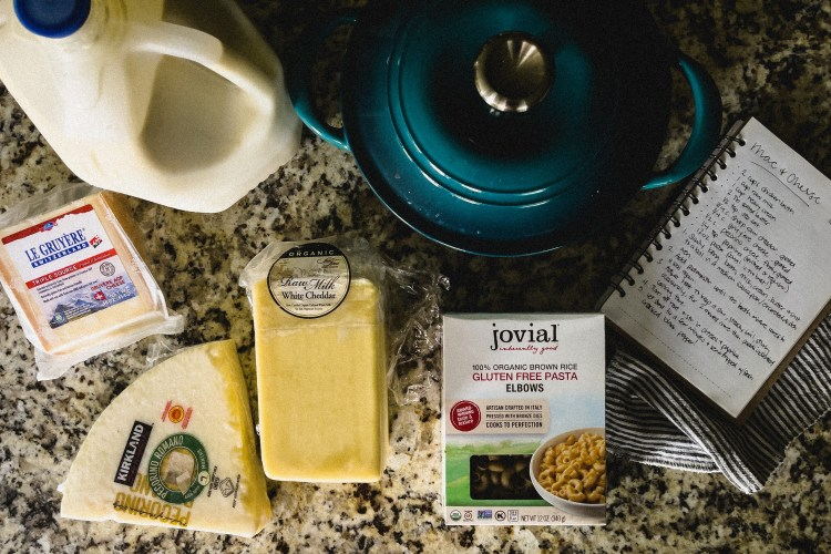 homemade bone broth mac+cheese