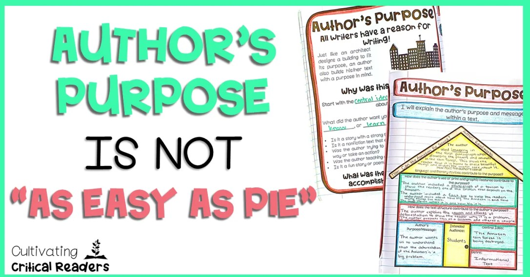 Author's Purpose is NOT As Easy As PIE Post Image | Best for second grade reading, third grade reading, and fourth grade reading