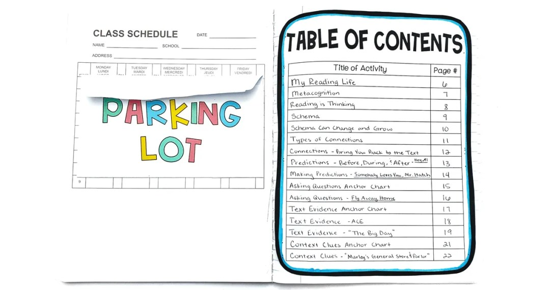 parking lot and table of contents-min