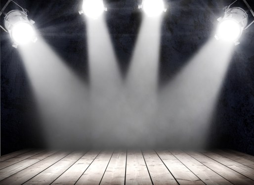 Lights on an empty stage.