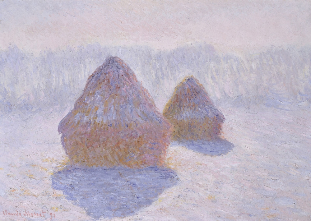 """A photo of a painting from Claude Monet's """"Haystacks"""" series."""