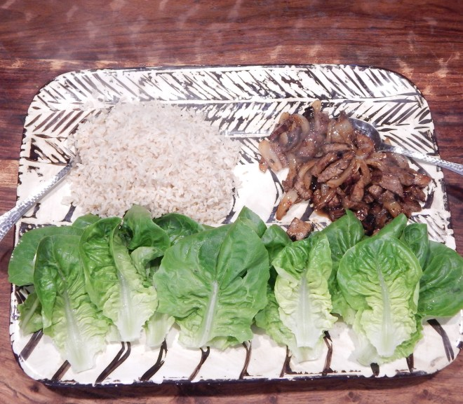 "Leftover Flank Steak with Rice and ""Little Gem"" Lettuce"
