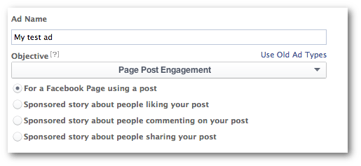 Page Post Engagement Objective
