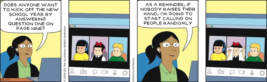A Nancy comic about virtual schooling