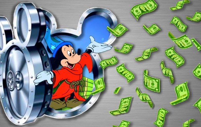 An illustration of Mickey Mouse opening the Walt Disney vault and letting lots of cash out