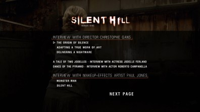 Silent Hill extras menu 1