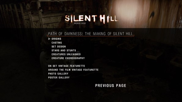 Silent Hill extras menu 2