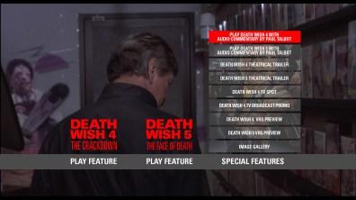 Death Wish 4/5 Blu Special Features Menu