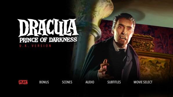 Dracula Prince of Darkness UK Menu