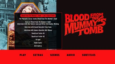Blood from the Mummy's Tomb extras menu