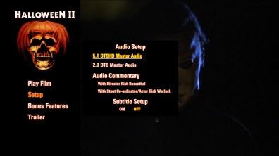 Halloween II steelbook audio menu