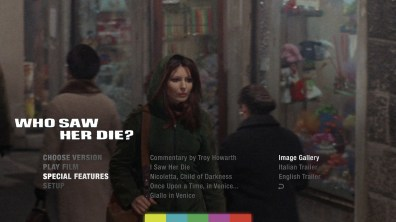 Who Saw Her Die? extras menu
