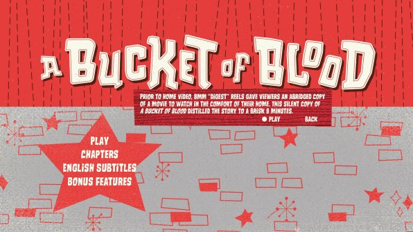 A Bucket of Blood Blu-ray Special Features 8mm Info Menu