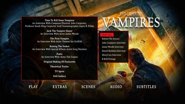 Vampires Blu-ray Bonus Making Of Menu