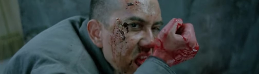 A screen shot taken from the 1993 horror film, The Untold Story. It shows the main character chewing through his wrist.