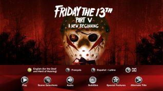 Friday the 13th Part V: A New Beginning Blu-ray Subtitles Menu