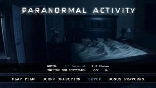 Paranormal Activity Blu-ray Setup Menu