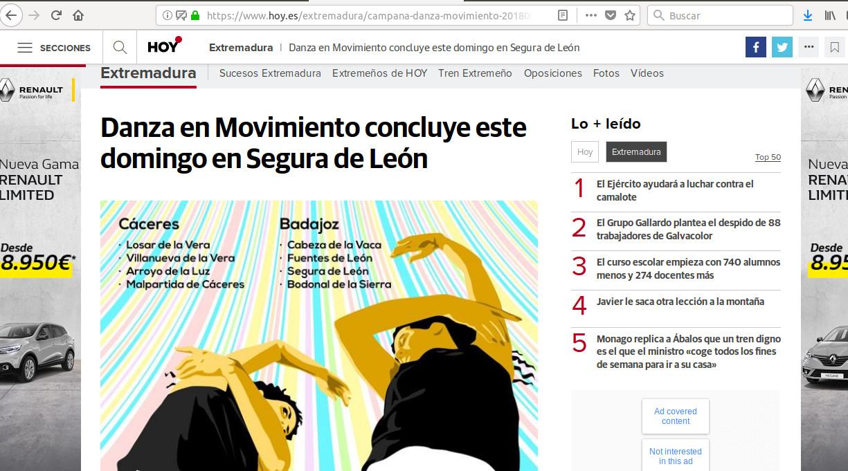 La campaña Danza en movimiento alcanza 40 municipios desde su andadura