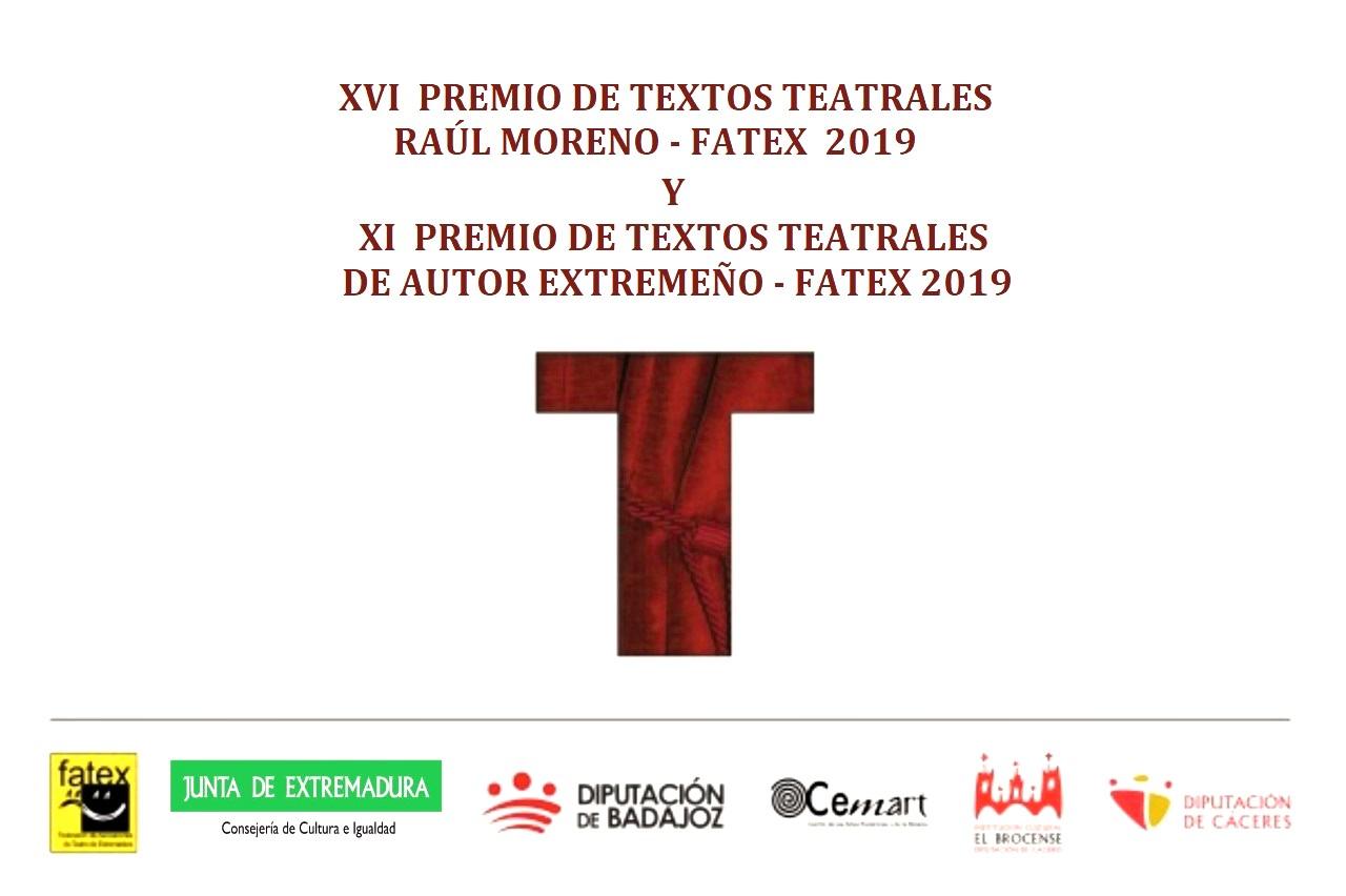 XVI Premio de Textos Teatrales Raúl Moreno FATEX 2019 y XI Premio de Textos Teatrales de Autor Extremeño FATEX 2019