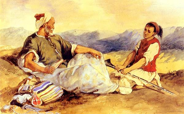 Eugene Delacroix - 00 Two Moroccans Seated in the Countryside