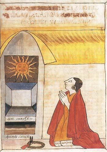 Inca Pachacútec rezando a Inti, el dios del Sol.