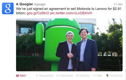 Cultura Geek Google le vende a Lenovo la seccion movil de Motorola
