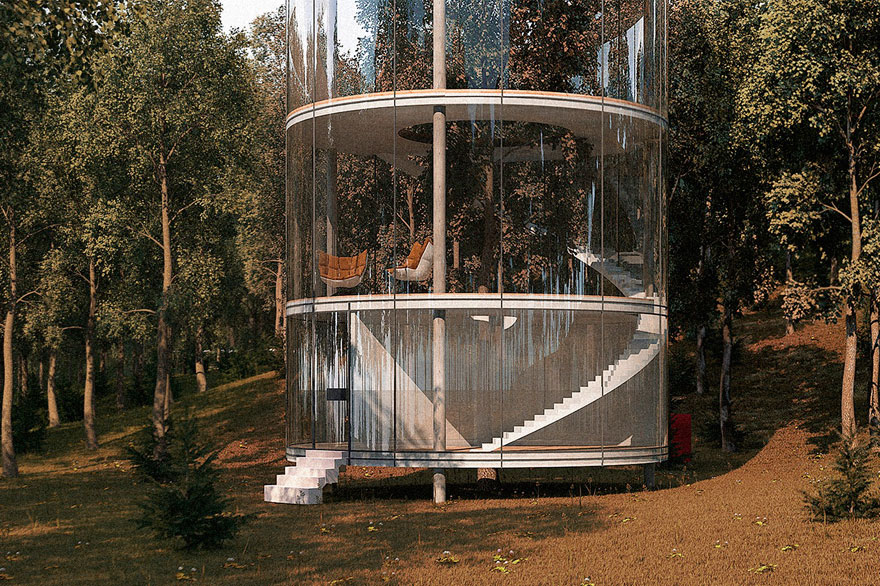 Aibek Almassov Tubular Glass House Built Around Tree 4