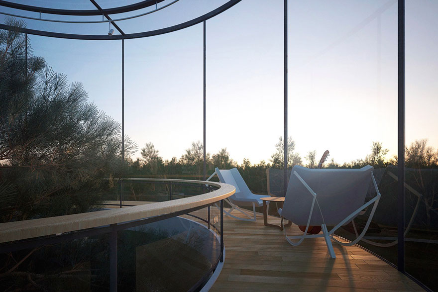 Aibek Almassov Tubular Glass House Built Around Tree 5