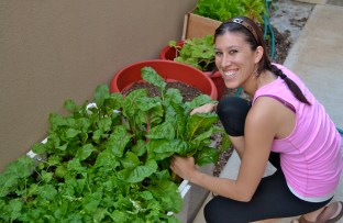 I am happy in my yoga pants tending to my garden. :-)