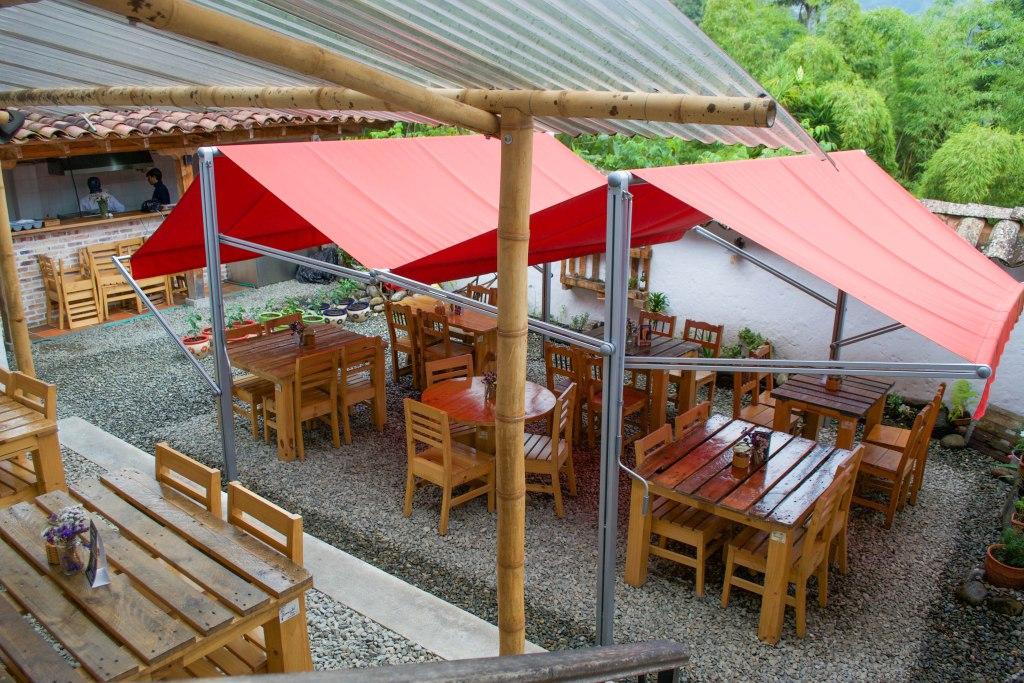 Outdoor Courtyard of Bernabe Restaurant, Salento, Colombia