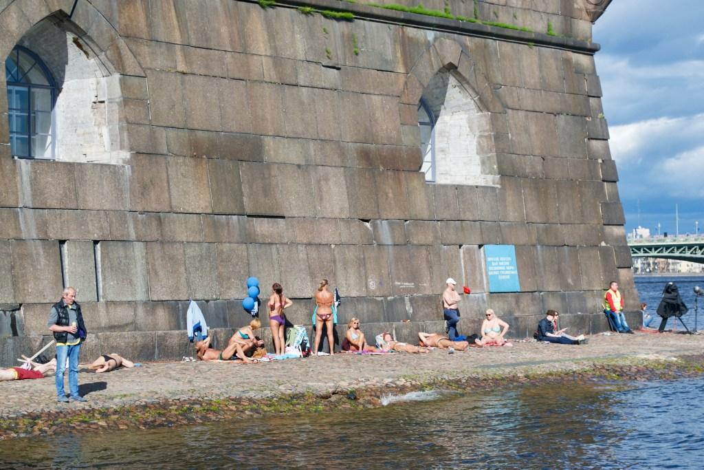 Sunbathing in Saint Petersburg, Russia