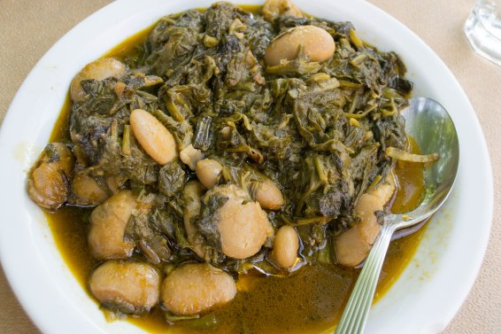 Gigante beans with spinach. So happy to have some leafy greens again!