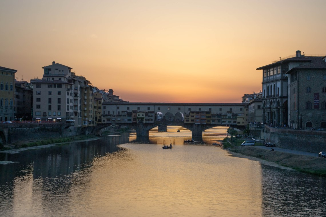 Sunset at Ponte Veccio Bridge - Florence, Italy