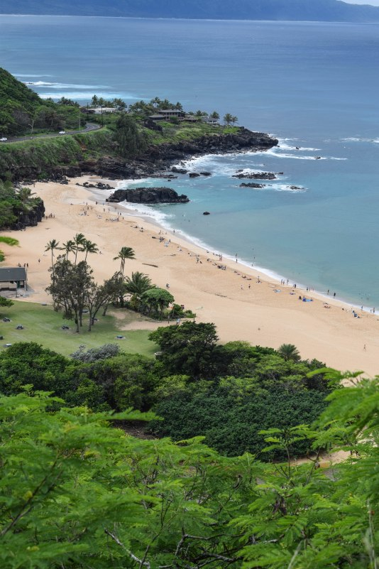 Waimea Bay, a popular cliff-jumping spot during high tide and small waves