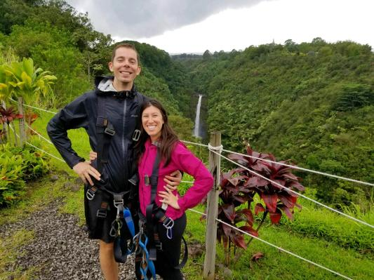 Zip lining over the tallest waterfall on the Big Island of Hawaii