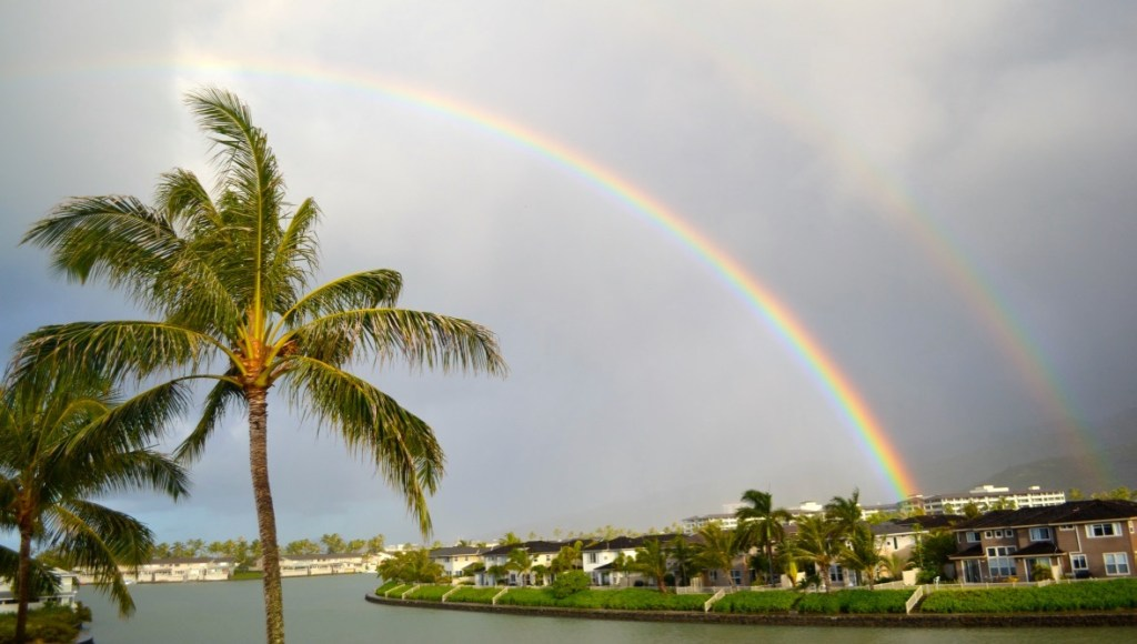 Double rainbow over the Hawaii Kai Marina