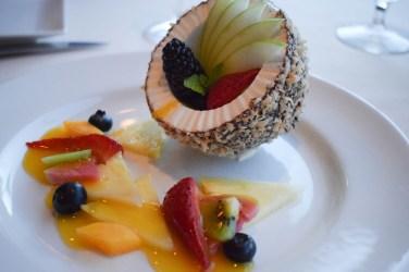 Haupia sorbet inside a chocolate coconut shell