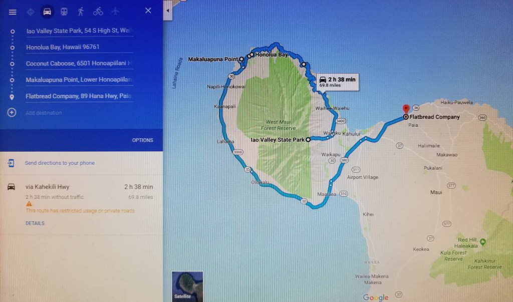 Nakalele Blowhole Iao Valley Honolua Bay Maui Driving Map Itinerary