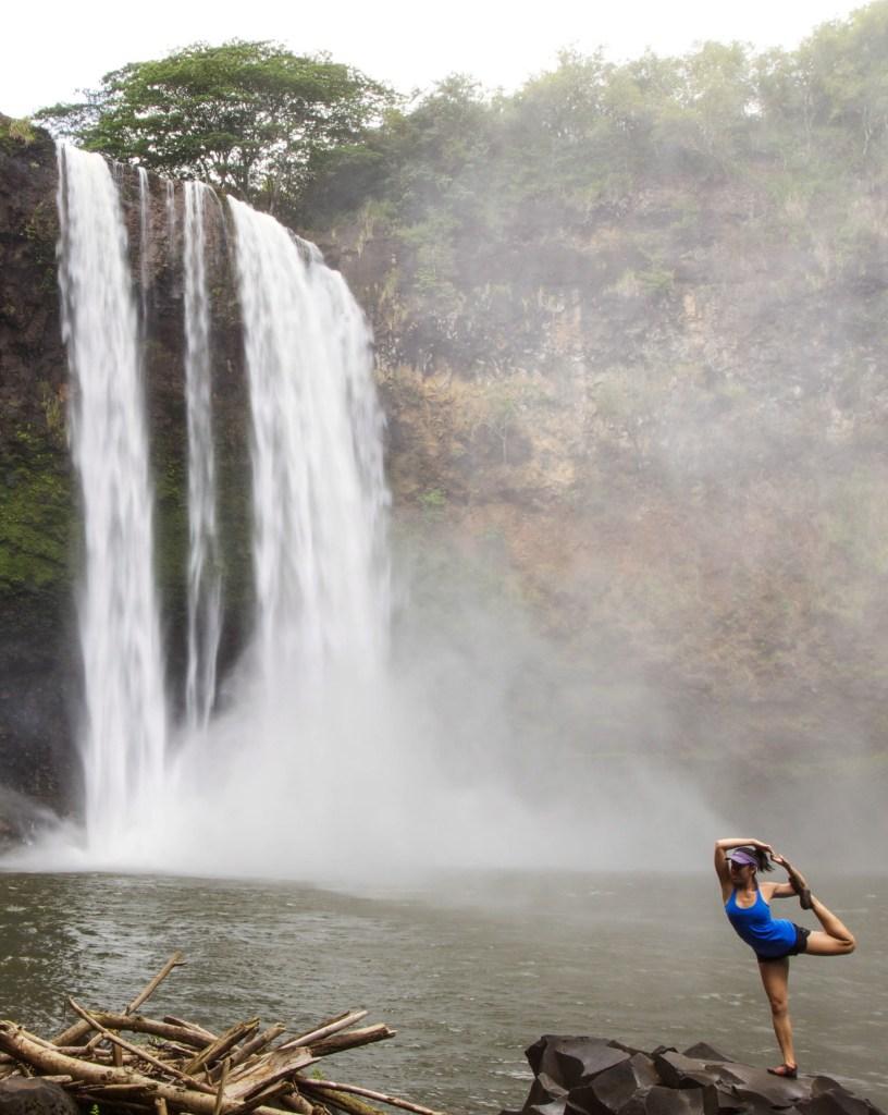 Mermaid Pose at Wailua Falls, Kauai