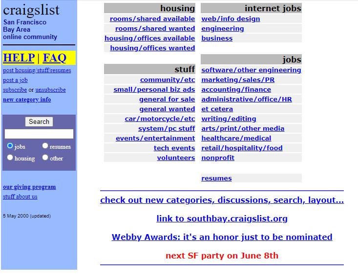 A screenshot of Craigslist as of May 2000