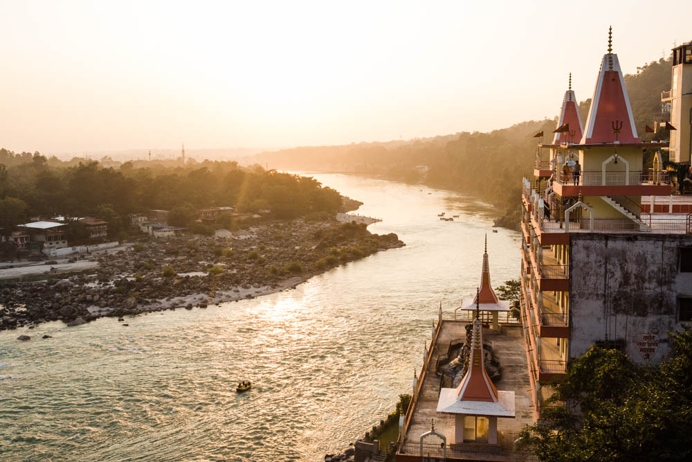 View from Beatles Cafe in Rishikesh India during sunset by CulturallyOurs