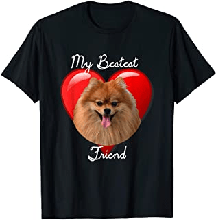 Pomeranian t shirt design featuring a pomeranian dog in front of a heart with the phrase My Bestest Friend. Cute Pomeranian t-shirt for pom lovers, pom mom or pom dads. Great item for those looking for pomeraian gifts or pom gifts