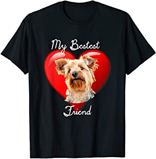 Yorkshire Terrier t shirt graphic design featuring a yorkie dog in front of a heart with the phrase My Bestest Friend. Cute Yorkie t-shirt for yorkshire Terrier lovers, yorkie moms or yorkie dads. Great item for those looking for yorkie gifts or yorkshire terrier gifts