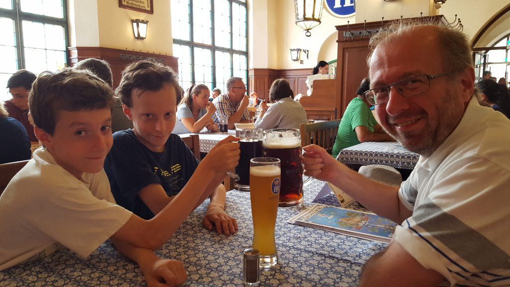 Father and two sons in Hofbrauhaus Munich